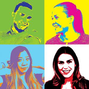 Kevin, Kristina, Alison and Kristia. The new interns.