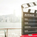 Clapperboard with scene behind it