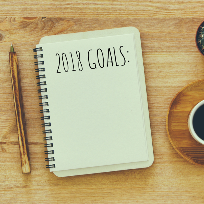 2018 Goals written in notebook