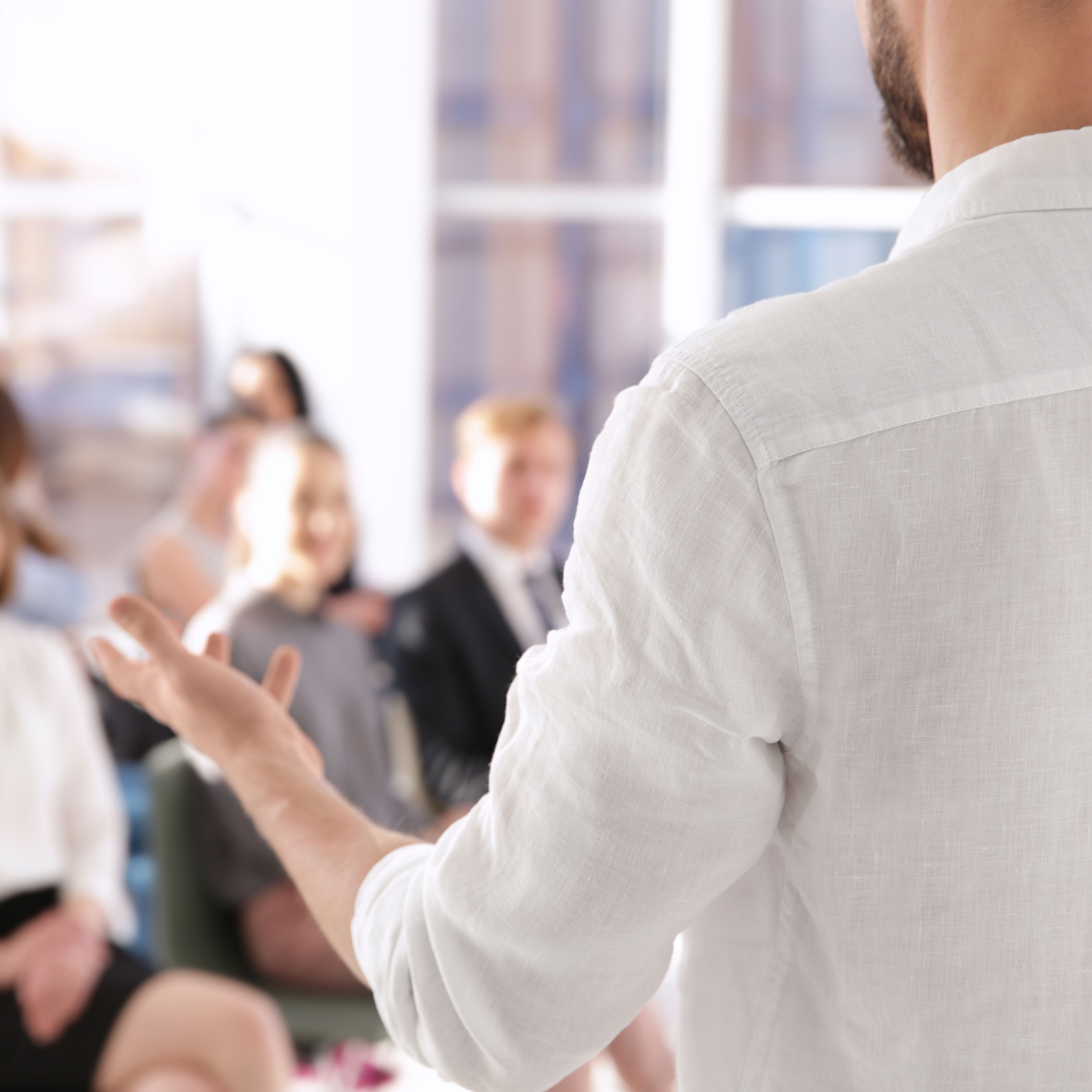 Man presenting to group