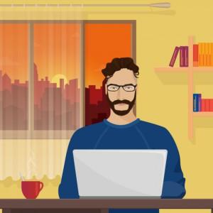 Man on laptop working