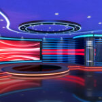 Television studio, virtual studio set. ideal for green screen compositing.