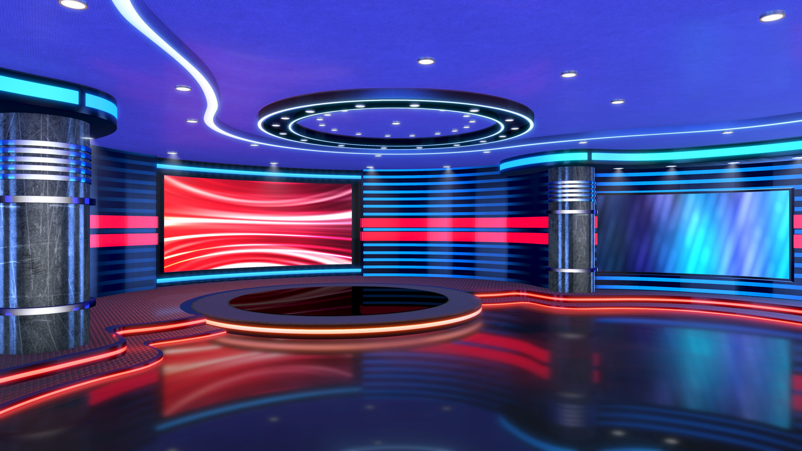 Television studio, virtual studio set. ideal for green screen compositing.