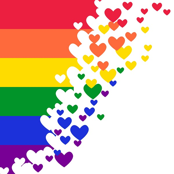 Rainbow Pride flag (Freedom flag) with heart elements – LGBT community and movement of sexual minorities.