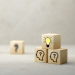 cubes showing a brainstorming session – 3d illustration